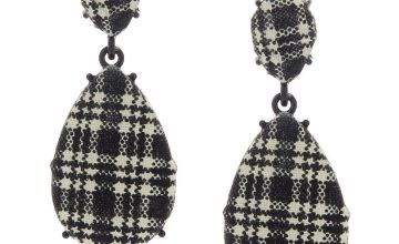"Go to Product: 2"" Gingham Teardrop Drop Earrings - Black"