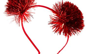 Go to Product: Tinsel Pom Pom Ears Headband - Red