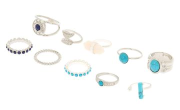Go to Product: Silver Stone Rings - Turquoise, 10 Pack