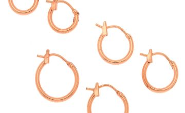 Go to Product: 18kt Rose Gold Plated Graduated Hinge Hoop Earrings - 3 Pack
