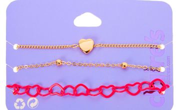 Go to Product: Gold Mixed Heart Chain Bracelets - Pink, 3 Pack