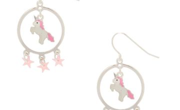 "Go to Product: 2"" Unicorn Star Circle Drop Earrings"
