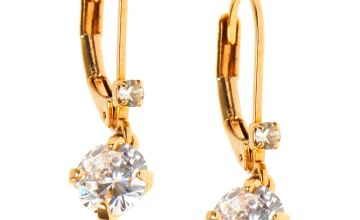 "Go to Product: 18kt Gold Plated Cubic Zirconia 0.5"" Crystal Lever Drop Earrings"