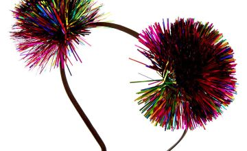 Go to Product: Rainbow Tinsel Pom Pom Ears Headband
