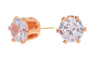 Go to Product: 18kt Rose Gold Plated Cubic Zirconia 5MM Round Stud Earrings