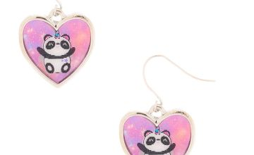 "Go to Product: 1"" Charlie the Panda Holographic Drop Earrings - Pink"