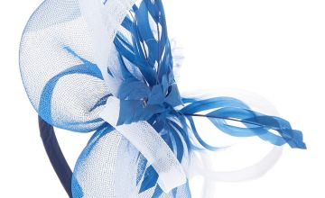 Go to Product: Royal Feather Hair Fascinator Headband - Navy