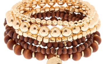 Go to Product: Gold Wooden Stretch Bracelets - 6 Pack