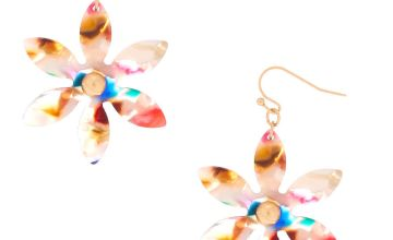 "Go to Product: 2"" Resin Painted Flower Drop Earrings"