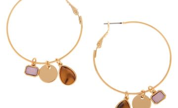 Go to Product: Gold 40MM Tortoiseshell Stone Charm Hoop Earrings