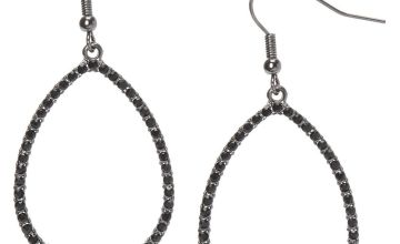 "Go to Product: Hematite 1.5"" Teardrop Drop Earrings"