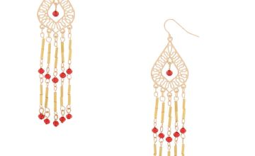 """Go to Product: Gold 3"""" Bead Chandelier Drop Earrings - Red"""