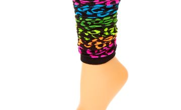 Go to Product: Rainbow Leopard Print Leg Warmers - Black