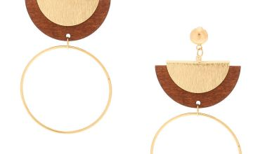 "Go to Product: Gold 3"" Wooden Half Moon Drop Earrings"