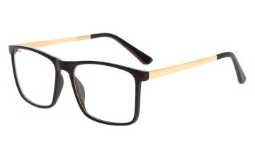 Go to Product: Gold Matte Retro Clear Lens Frames - Black