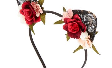 Go to Product: Floral Lace Cat Ears Headband - Black