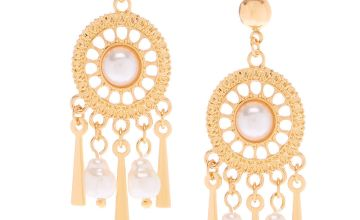 "Go to Product: Gold 1.5"" Pearl Chandelier Drop Earrings"