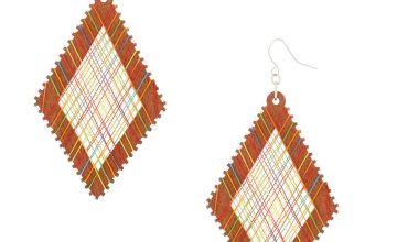 """Go to Product: Wood 3"""" Rainbow Thread Diamond Drop Earrings"""