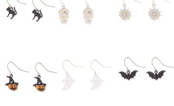 "Go to Product: Silver .5"" Halloween Drop Earrings - 6 Pack"