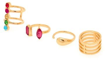 Go to Product: Gold Rainbow Gem Ring Set - 4 Pack