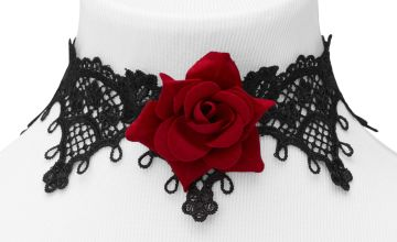 Go to Product: Rose Lace Choker Necklace - Red