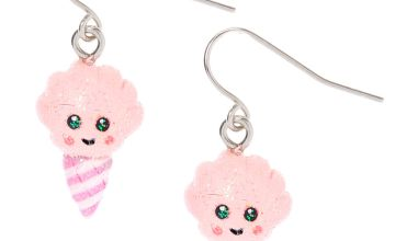 "Go to Product: Silver 1"" Happy Cotton Candy Drop Earrings - Pink"