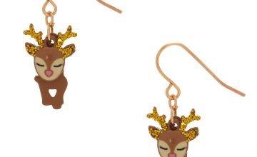 Go to Product: Dancing Reindeer Drop Earrings - Brown