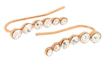 "Go to Product: Rose Gold 1"" Graduated Crystal Ear Crawler Earrings"