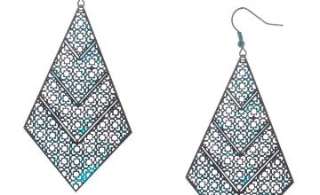 "Go to Product: 3"" Rustic Patina Filigree Drop Earrings - Turquoise"
