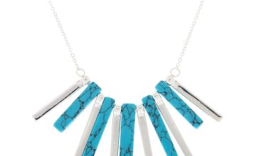 Go to Product: Silver Marble Stick Statement Necklace - Turquoise