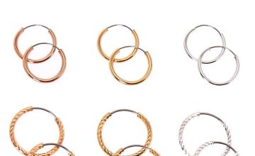 Go to Product: Mixed Metal 12MM Smooth & Textured Hoop Earrings - 6 Pack