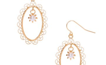 "Go to Product: Gold 1.5"" Filigree Frame Drop Earrings"