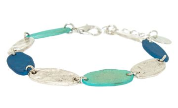 Go to Product: Silver Mixed Patina Chain Bracelet - Blue