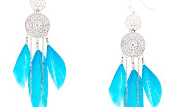 """Go to Product: Silver 3"""" Dreamcatcher Drop Earrings - Teal"""