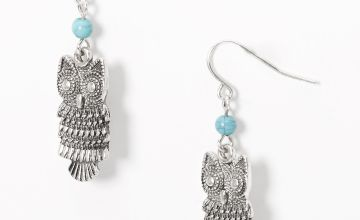 "Go to Product: Silver 1.5"" Beaded Owl Drop Earrings - Turquoise"