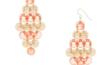 """Go to Product: Gold 2.5"""" Filigree Disk Chandelier Drop Earrings - Coral"""