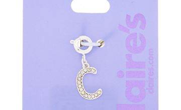 Go to Product: Silver Embellished Initial Bracelet Charm - C