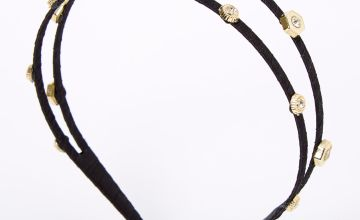 Go to Product: Gold Embellished Double Row Headband - Black