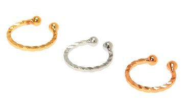 Go to Product: Mixed Metal Twisted Faux Hoop Nose Rings - 3 Pack