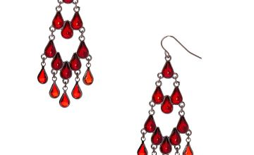 "Go to Product: Hematite 2.5"" Gothic Chandelier Drop Earrings - Red"