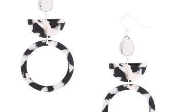 "Go to Product: 3"" Black & White Resin Geometric Drop Earrings"