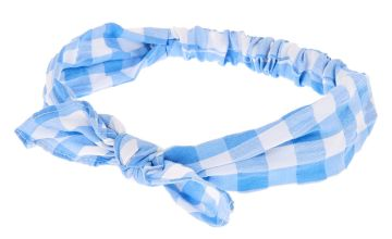 Go to Product: Gingham Knotted Bow Headwrap - Blue