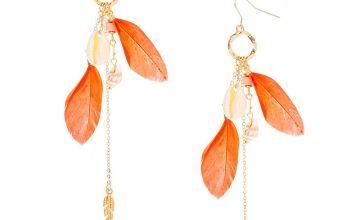 "Go to Product: Gold 4.5"" Shell Feather Drop Earrings - Coral"