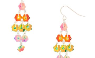 "Go to Product: 4"" Rainbow Petal Drop Earrings"