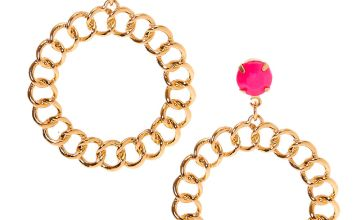 "Go to Product: Gold 2"" Beaded Chain Link Drop Earrings - Pink"