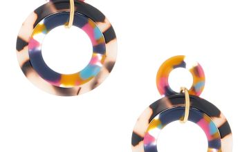 "Go to Product: Gold 2"" Layered Rainbow Resin Tortoiseshell Drop Earrings"
