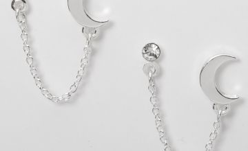 Go to Product: Silver Embellished Moon Connector Chain Stud Earrings