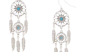"Go to Product: Silver 2"" Dreamcatcher Drop Earrings"
