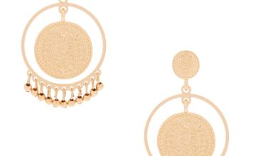 "Go to Product: Gold 2"" Coin Disk Drop Earrings"