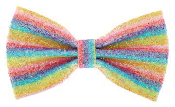 Go to Product: Iridescent Glitter Rainbow Stripe Hair Bow Clip